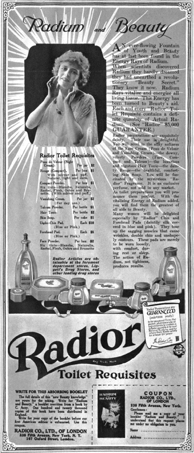 120 Radioactive Beauty Products, 1930s